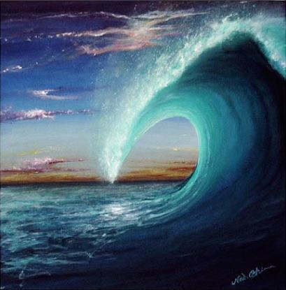 夕暮れのチューブの巻いた波の ...