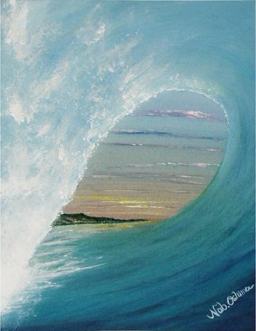 サーフィンのチューブインの絵